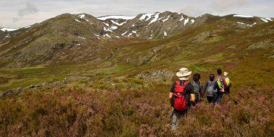 Un grupo de senderistas camina para hacer cumbre en Pena Trevinca, el pico más alto de Galicia
