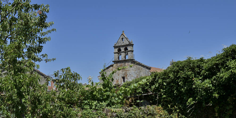 La espadaña de la iglesia de San Munio da Veiga (A Bola, Ourense) se yergue sobre la vegetación que rodea el pueblo
