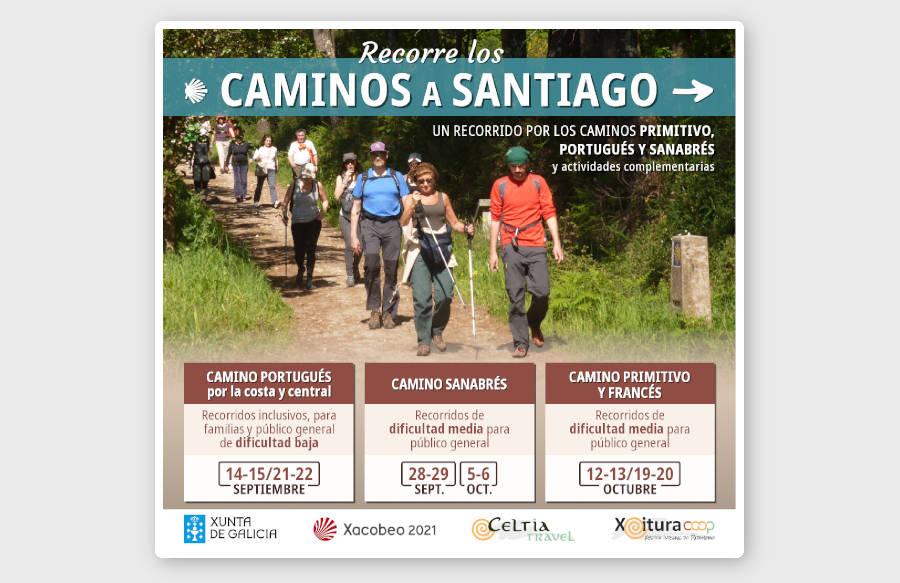 Cartel del proyecto Recorre los caminos a Santiago, cofinanciado por la Xunta de Galicia y el programa O Teu Xacobeo de Xacobeo 2021
